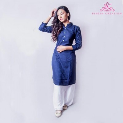 Navy Blue Slub Rayon Kurti For Women