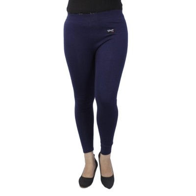 Navy Blue Solid Inner Fleece Jeggings For Women