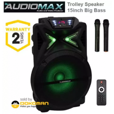 AudioMax 15 inch Trolley Speaker Woffer HI-Fi System (AM-1501) With 2 pcs Wireless Mic
