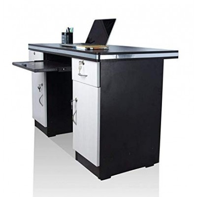 Asha Furniture Office Desk with Drawers & Storage, White & Black