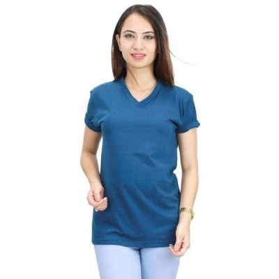Aqua Blue Plain V neck Tshirt