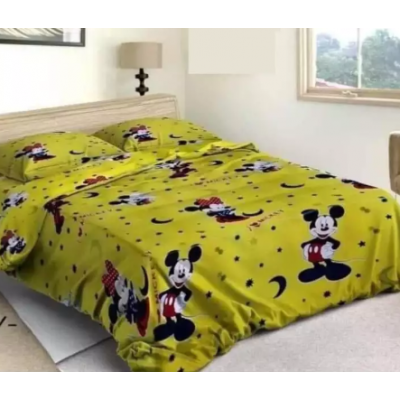 Mickey Mouse King Size Bed Sheet With 2 Pillow Covers