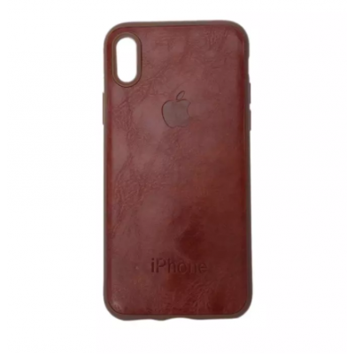 Brown Solid Leather Phone Cover For Iphone XS