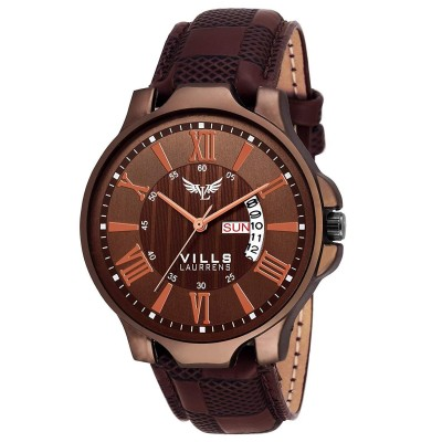 Vills Laurrens Analogue Coffee Brown Dial Day and Date Men's Watch