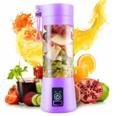 4 blades Mini Portable Electric Fruit Juicer Blender Mixer Grinder USB Rechargeable Smoothie Maker Machine Sports Bottle Juicing Cup