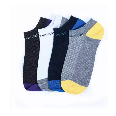 Pack of 4 Black /Grey /White /Blue Sports Cotton Ankle Socks For Men