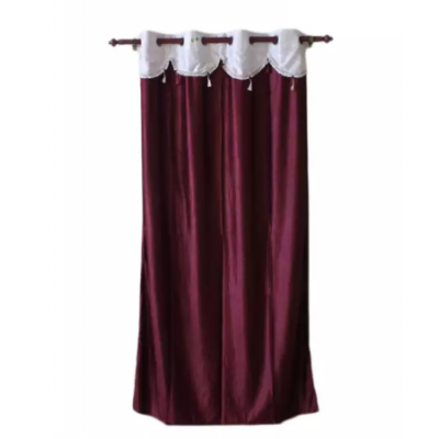 Cotton Fabric Window/Door Curtain With Jhalar - (Blue/Purple/Maroon/Sky Blue/Pink/Brown)