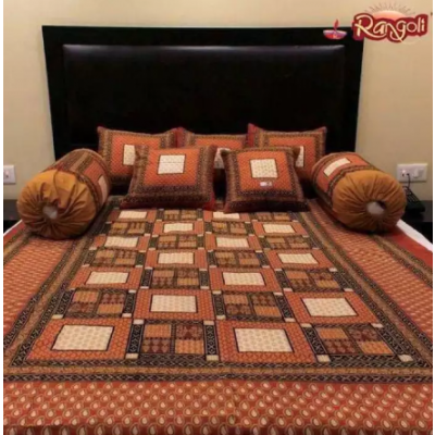 Orange 100% Cotton Printed Dewan Bed Set (1 Deewan Bedsheet + 5 Cushion Covers + 2 Bolister Covers)