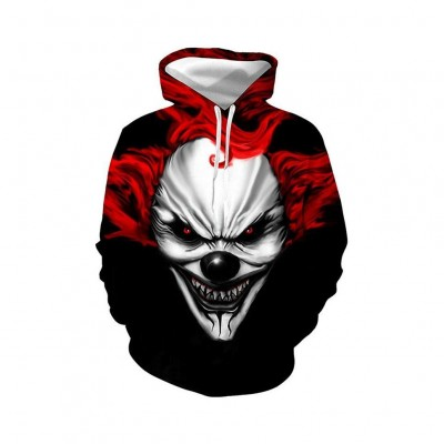 Devil Clown Pullover Hoodie 3D Printing Sweatshirt With Drawstring For Men
