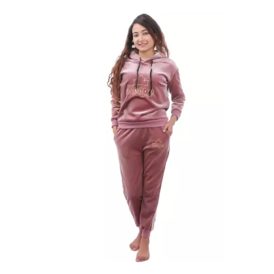Crepe Pink Embroidered Tracksuit Set For Women