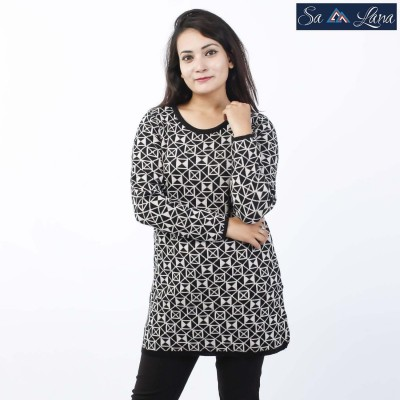 Abstract Printed Long Woolen Sweater For Women (LL-49)