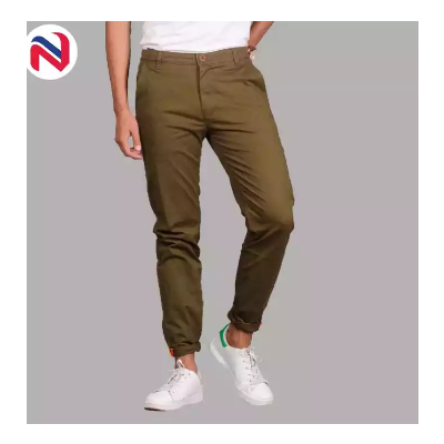 Mehendi Green Stretchable Cotton Chinos For Men