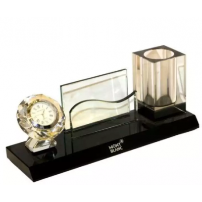 Pen And Card Holder With Clock