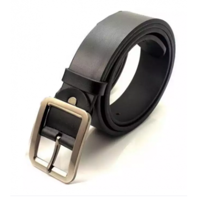 Black Solid Formal And Casual Leather Belt For Men