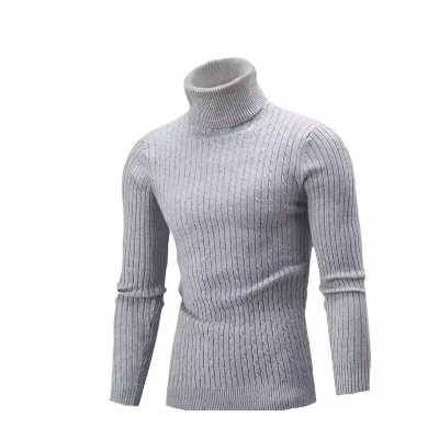 Winter Turtle Striped High Neck Pullover For Men