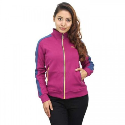 Purple/Blue Contrast Sleeved Jacket For Women