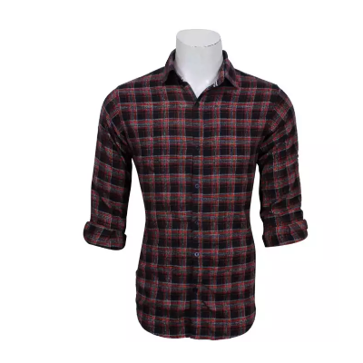 Black/White/Red Checkered Full Sleeve Shirt For Men