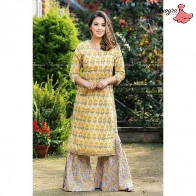 Yellow Printed Garara Set