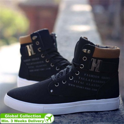 Fashion Autumn Winter Warm Men Shoes High Top Canvas Casual Footwear