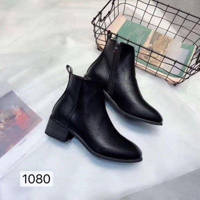 Plain Black Side Chain Ankle Boot For Women
