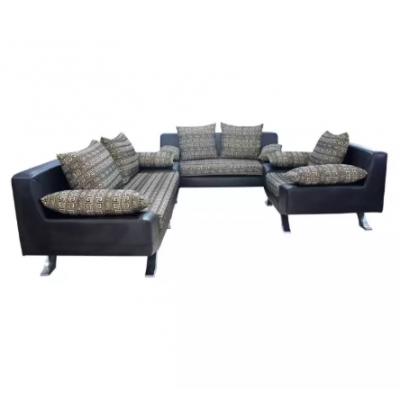 Sunrise Furniture Wooden 6-Seater Sectional Sofa With Steel Leg - Black