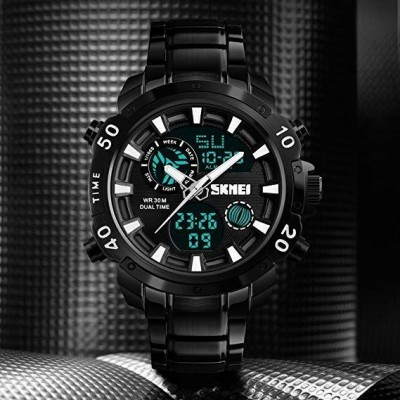 MultiFunctional Business Analog/Digital Large Dial Stainless Steel Watch