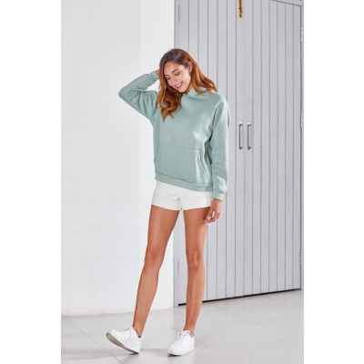 Women's Cotton Sweatshirt With Pocket Autumn Winter Simple Fashionable Baggy Solid Color Hooded Pullovers