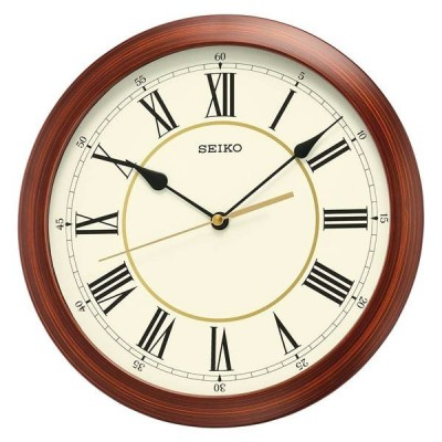Lotus Quartz Display Wall Clock Battery Operated Round Easy to Read Home/Office/School Clock (White) Golden Border