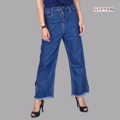 Blue High Rise Plain Jeans For Women By Nyptra