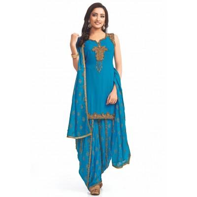 Cotton - Deep Sky Blue Color Kurta Salwar for Women