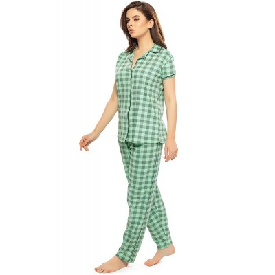 ZEYO Women's Cotton Flamingo Peach & Green Checks Printed Night Suit