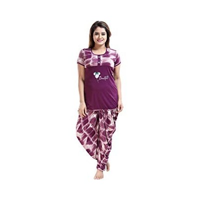 LIFE-TALE® Top and Dhoti Style Bottom Night Suit/Nightdress for Women and Girls (Size: L/XL/XXL)