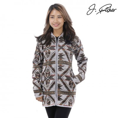 J.Fisher Cotton/Wool Patterns Designed Hoodie For Women