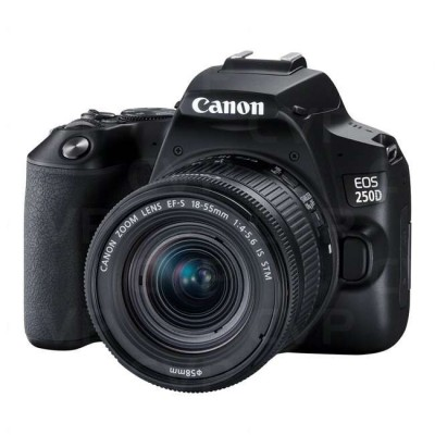 Canon EOS 250D 24.1MP Digital SLR Camera + EF-S 18-55mm f4 is STM Lens (Black) + 16GB Card + Camera Bag
