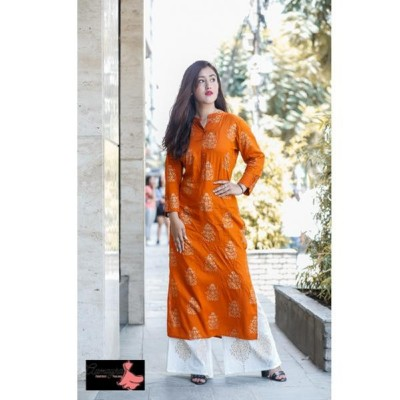 Orange Kurti With Plazo Set