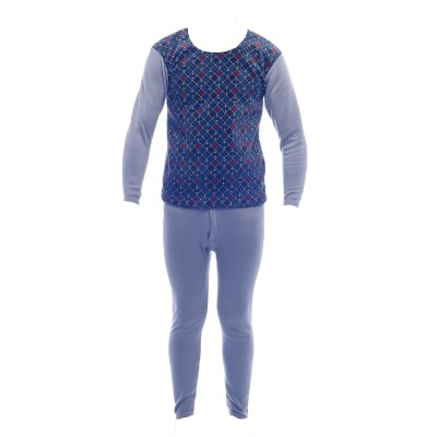 Gray/ Blue Pattern on Front Innerwear Winter Care Fur Inside Thermal Set For Men
