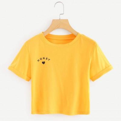 Summer Plain O- Neck T-shirt For Women - Yellow