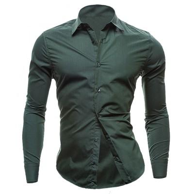 Dark Green Front Buttoned Full Sleeve Shirt For Men