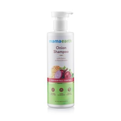 mamaearth Onion Shampoo for Hair Growth & Hair Fall Control with Onion Oil & Plant Keratin, 250 ml
