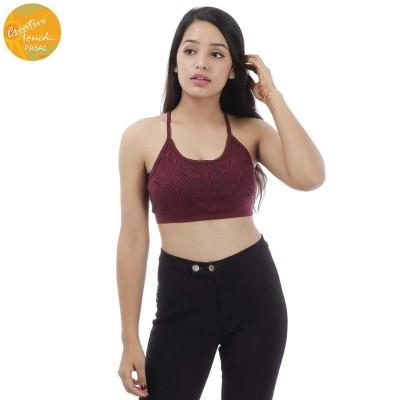 Maroon/Black Printed Sports Bra For Women