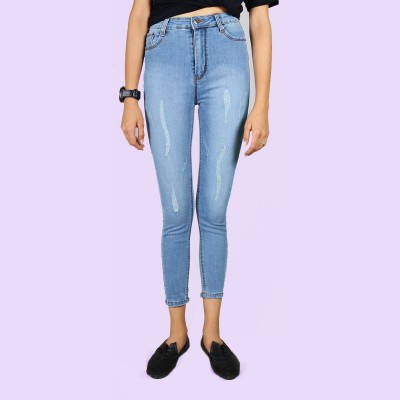 Light Blue High Rise Stretchable Jeans For Women By Nyptra