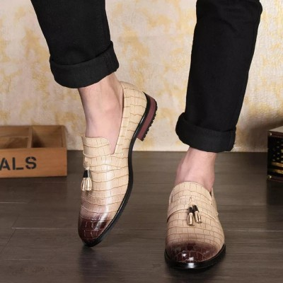 Remember Solid Tan Brogue Derby Leather Shoes For Men
