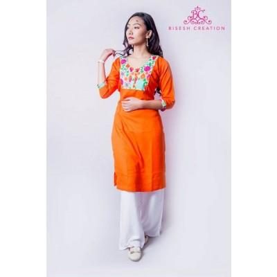 Orange/White Rayon Floral Embroidered Kurti For Women