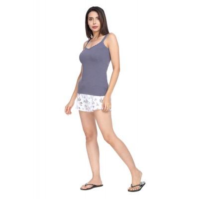 SHARK TRIBE SharkTribe Women's Cotton Nightwear Set/Night Suit Cami Top & Shorts Set