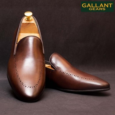 Gallant Gears Coffee Slip on Formal Leather Shoes For Men