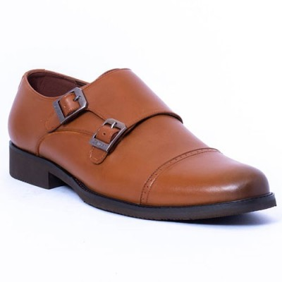 Caliber Shoes Tan Brown Double Monk Formal Shoes For Men - ( 491 C )
