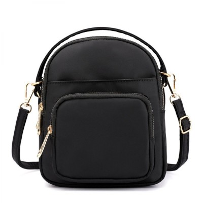 Black Solid Crossbody Bag For Women