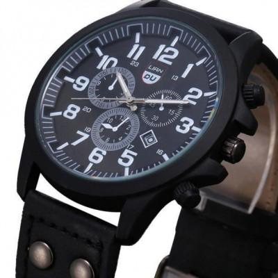 Men's wristwatch Military Leather Waterproof Date Quartz Analog Army Men's Quartz Wrist Watches