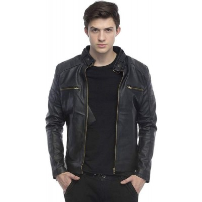 Zipped Faux Leather Biker Jacket For Men