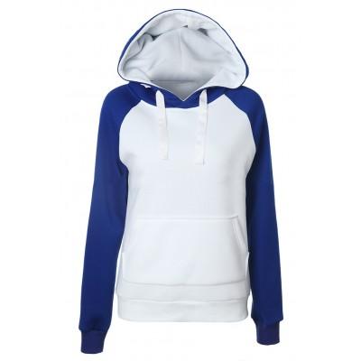 Blue/Grey Long Sleeve Hoodie For Women